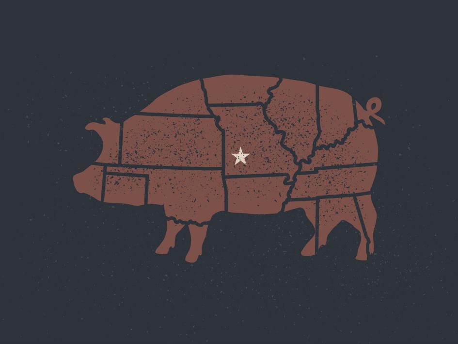 Butcher & Barbecue pig pork us map missouri springfield barbecue bbq butcher
