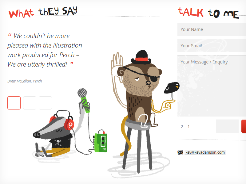 Badger and monkey with added details illustration quirky weird web design