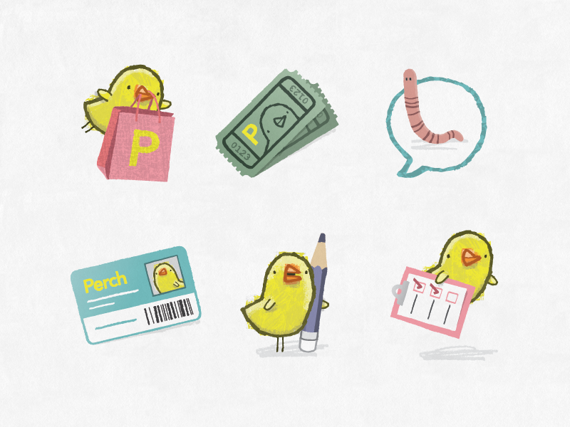 Perch Icons icons birds illustration