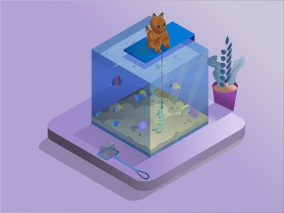 Glass aquarium in isometric view with tropical fish