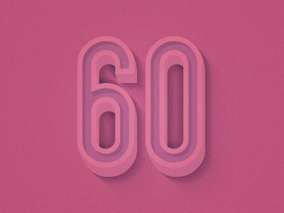 60 years 60 dribbble typography numbers pink 3d shadows