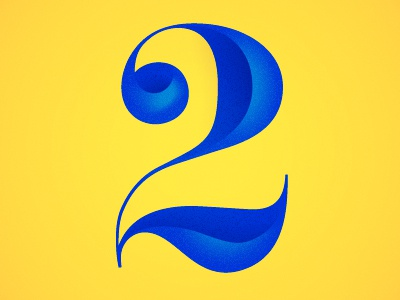 Two typography type blue yellow shadows highlights noise