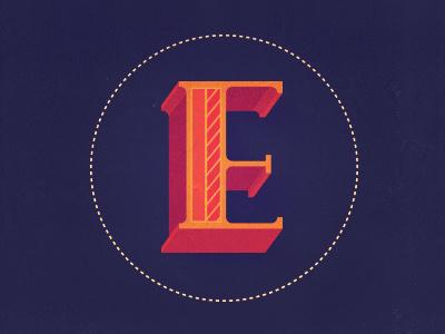 E type 3d typography serif