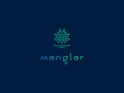Manglar nature save tree water manglar branding logo