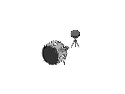 Drum icon - icon set WIP exploration isometric illustration icon set iconography freelance