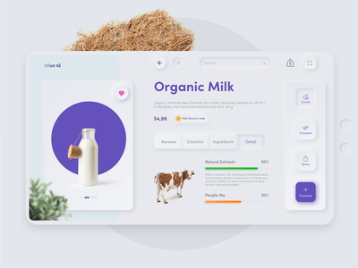 Healthy store | Product page | Organic Milk 🍼 ux  ui ux design ui ux search farmer market website uidesign uxdesign farm milk online shop commerce online store store healthy app neomorphic neomorphism