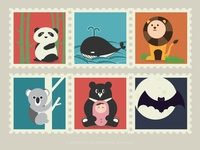 Stamps of mammal animals