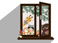 Window View of Animal friends