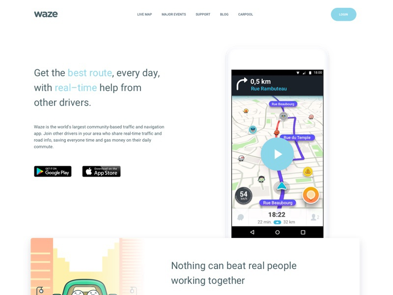 Waze Landing Page by Makonnen Dos Santos on Dribbble