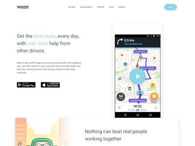 Waze Landing Page redesign ux ui app landing concept website marketing waze