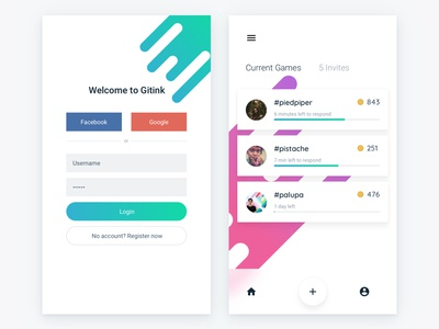 Game App gradient game login ui user interface android app