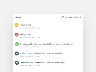 Approval History Feed component timeline feed card design white ux ui