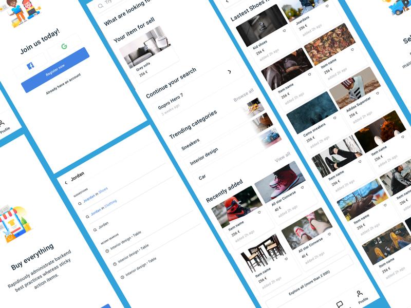 Marketplace App - Screens illustration marketplace ecommerce app ecommerce mobile app  design design ux ui app