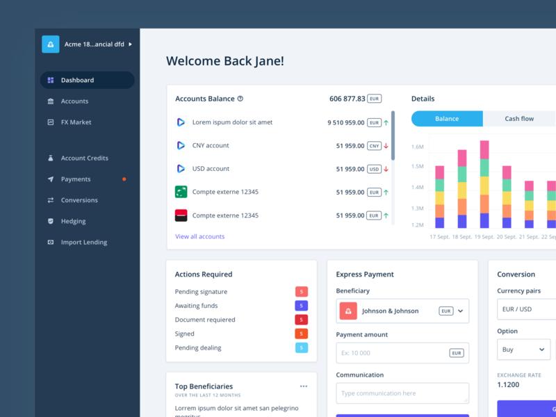 iBanFirst - New Dashboard finance data viz data visualization banking metric chart user interface data dashboard card app ux ui