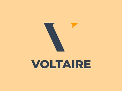 Voltaire Logo negative space logo orange and grey orange logo serif logo v logo location logo geotag brand design logotype branding design logo design logodesign brand logo mark logo design branding logo branding
