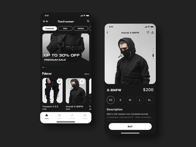Techwear💣 Streetwear brand🌃 uiux design branding mobile app interface black brend catalog shop streetwear wear design android ios uiux ui app mobile