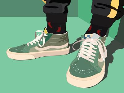 vans of the wall green shoes vector art vans vector illustration
