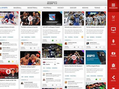ESPN Live - Dashboard espn sports entertainment cards tiles media