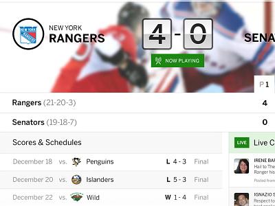 ESPN Live - Live Match View espn sports entertainment cards tiles media