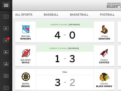 ESPN Live - Scoreboard espn sports entertainment cards tiles media