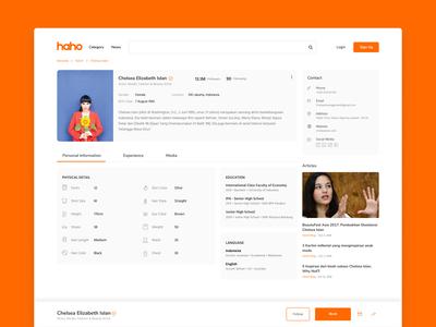 HAHO Talent Page UI Concept