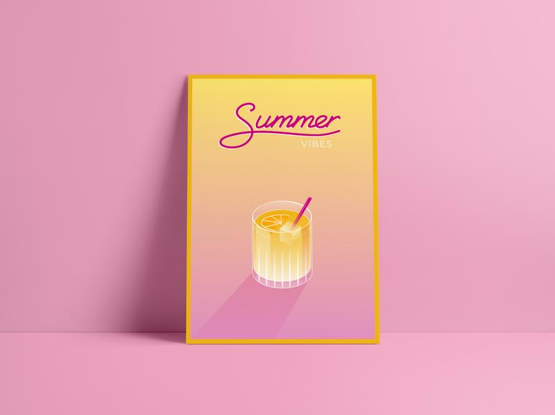SUMMER VIBES typography minimal vector poster pixelart illustree illustration designbold design