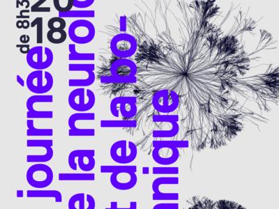 Journey of neurology and botanic poster poster random parametric code gif blue grey science neurone flowers
