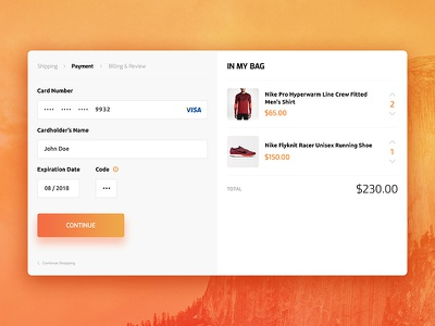 Credit Card Checkout - #DailyUI #002 checkout ecommerce daily ui