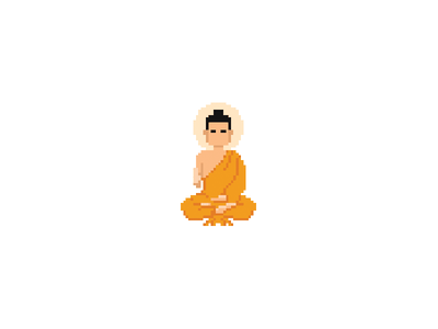 The Light of Asia, in pixels art on cotton buddha pixel art