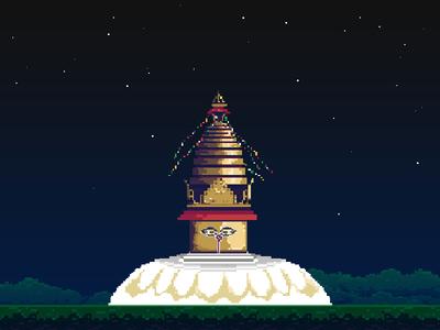 Swayambhunath in pixels heritage buddhist nepal pixel art swayambhunath