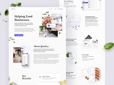 Qualizy - Landing page minimalistic images techno kitchen restaurant food creative landing page clean website web ux ui design