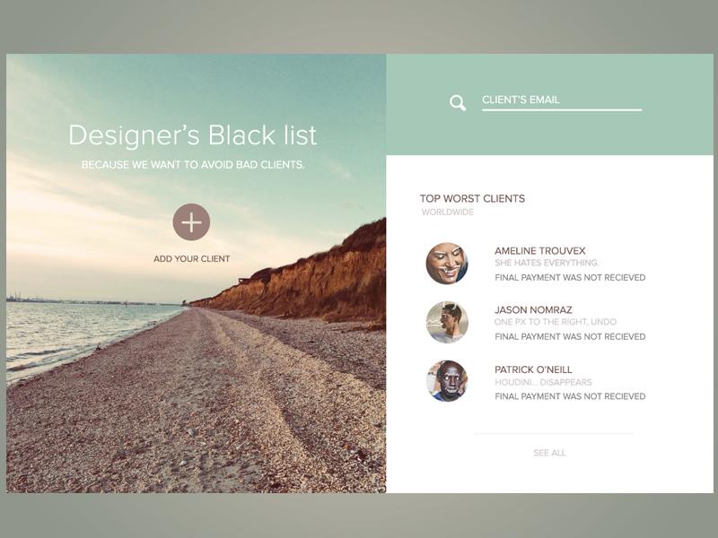 Designer's Black list website colorful interface