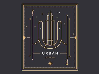 Urbän Catering illustration lineart branding logo poster line art