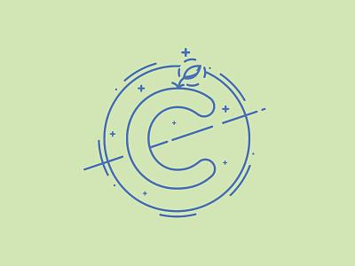 Cultiva  branding linework colorblock moon plant night