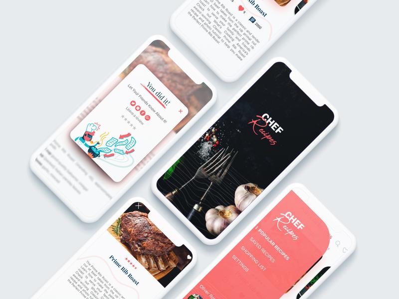 Chef Recipes Concept food figma brand app ui
