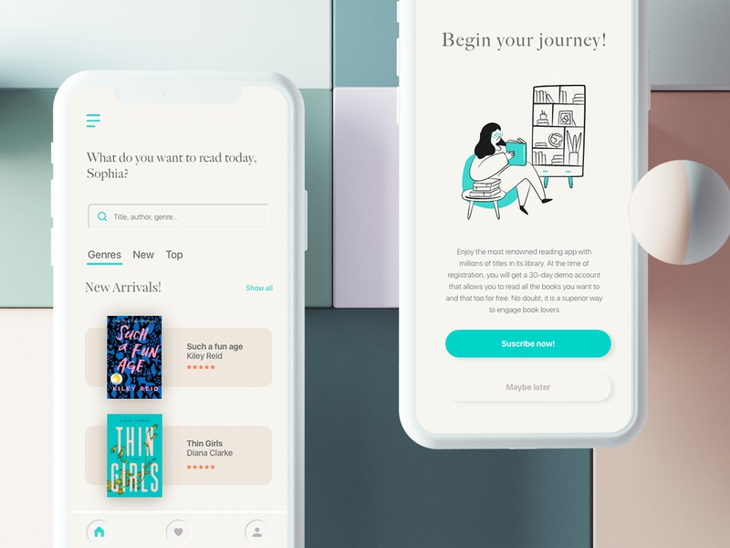 Book Suscription App Concept neumorphic minimalist read book adobe xd app ux ui