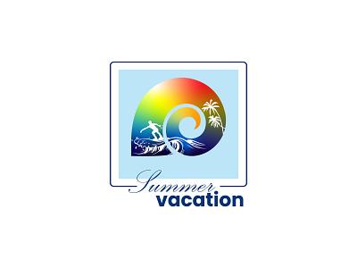 Summer vacation logo seafood branding illustration identity sea tropical summer vibes restaurant caffe vector design business logo business logo design modern design modern logo design modern logos modern logo