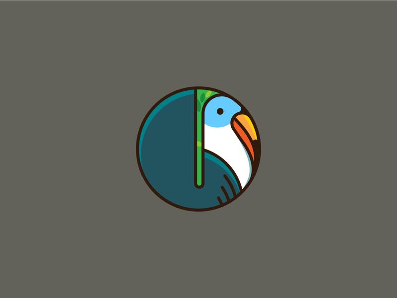 Hornbill vector design round logo bird illustration bird logo nature illustration logo
