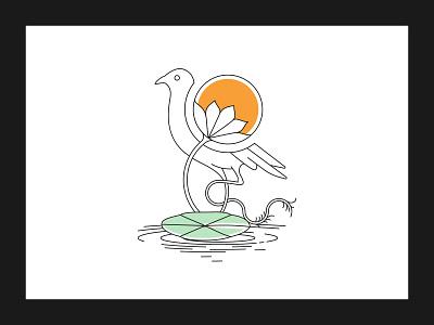 Line Art ''Bird With Nature'' minimal minimalist logo vector illustrator bird nature artwork line illustration line artwork brand identity graphic design logos logo design logodesigner design illustration