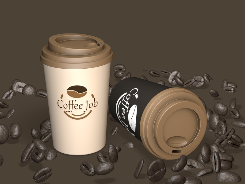 Coffee Job Mokup 3D graphic minimal euclidesdry design illustration cinema4d 3d artist 3d art 3d