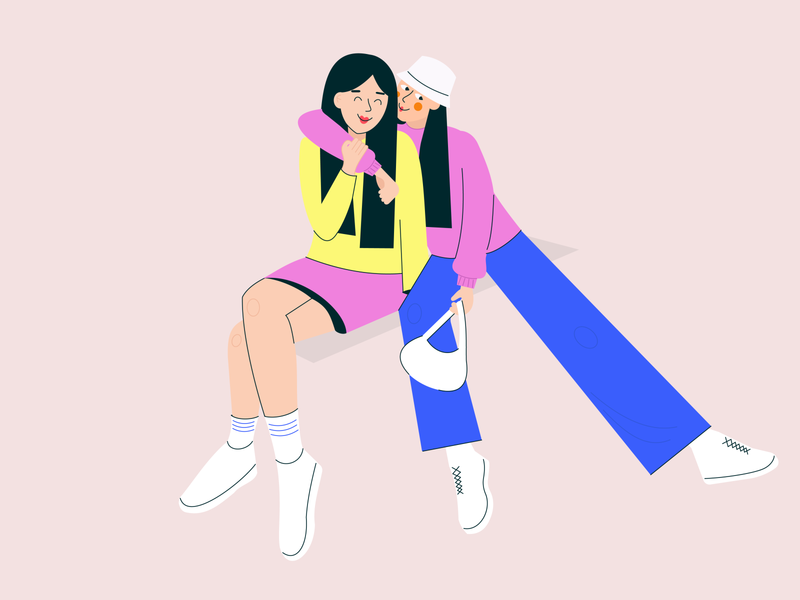 Friends young fashion best friends friend summer spring girl character digital illustration flat art
