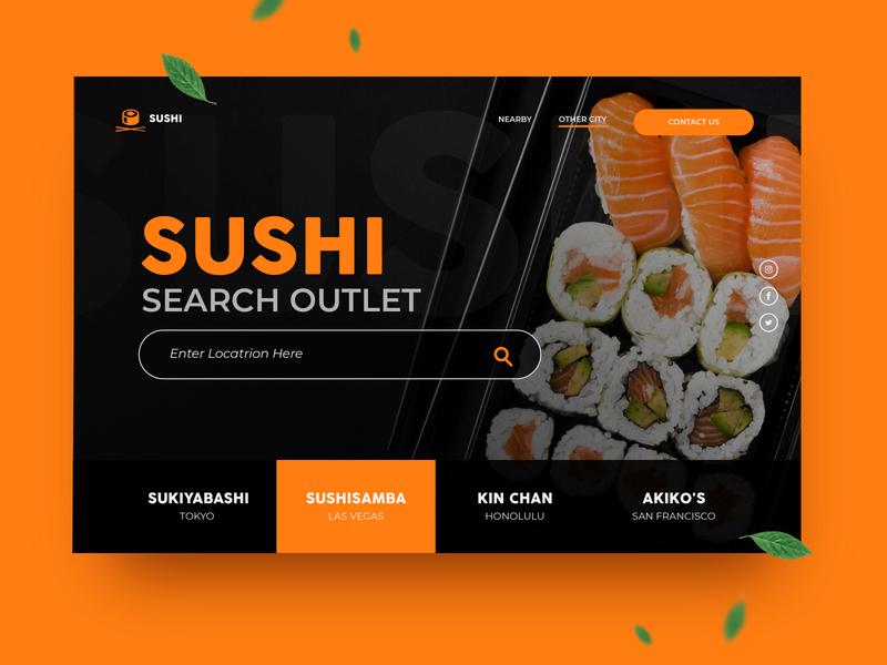 Sushi typography type illustration web icon minimal branding design app ux ui