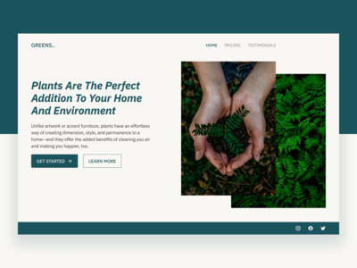 Eco-Friendly Landing page plants green typography retro beauty product climate change eco-friendly landingpage webdesign