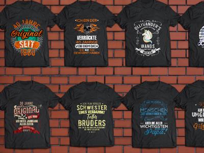 German Modern Typography T Shirt Design Bundle