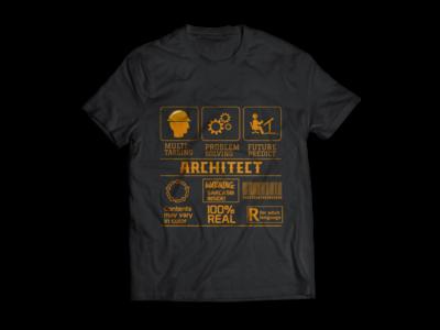 Architect Modern Typography T-shirt design