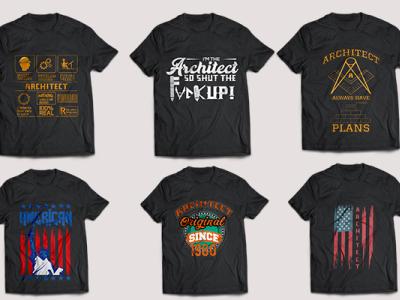 Architect Typography T-shirt design Bundle
