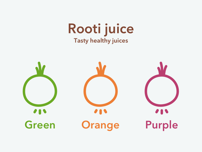 Rooti Juice logo pure brand print juice vegetable healthy flavours logo icon