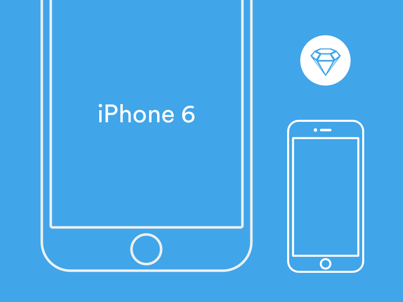 iPhone 6 Wireframe - Sketch template simple ui apps blue white icon 6 template iphone sketch