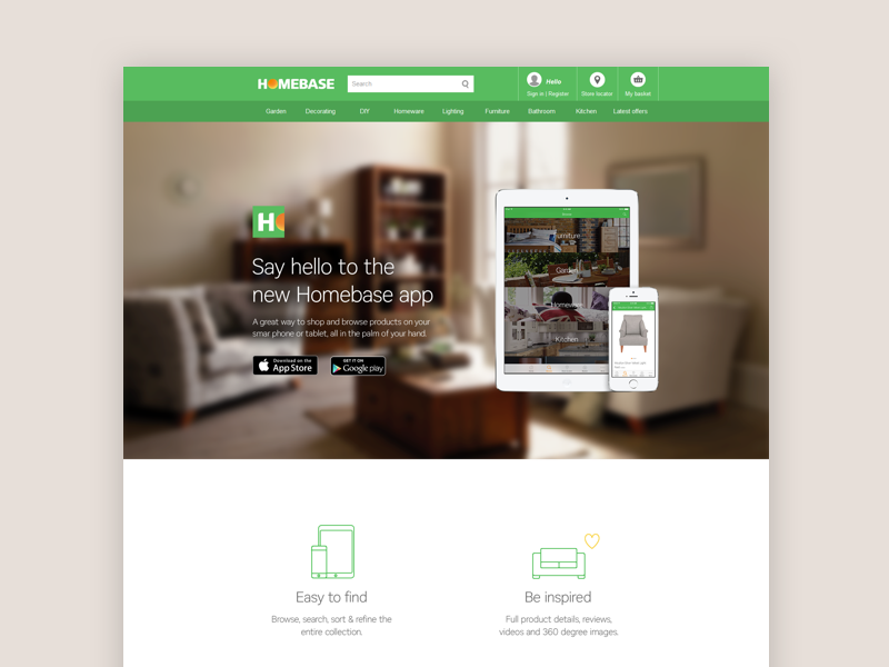 App launch - Homebase android ios app store web living room furniture icon home launch app