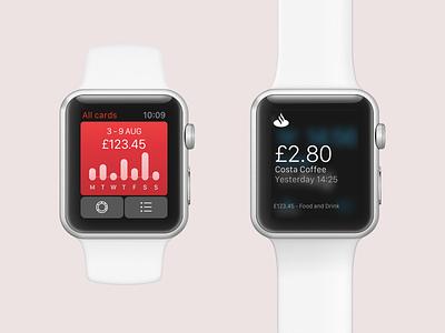 Spendlytics watchOS - Santander graph card transactions spending iphone ios personal api app banking apple watch
